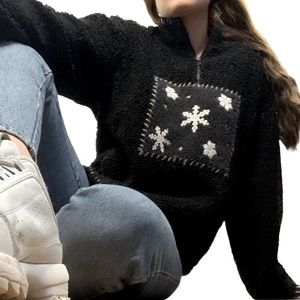 Woolrich 80s Style Snowflakes Charcoal Sweater